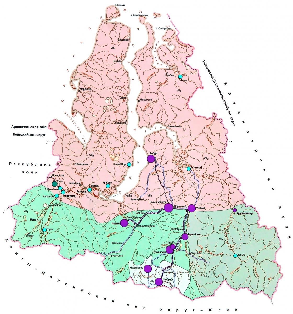 Карта Ямало-Ненецкого автономного округа Подробная