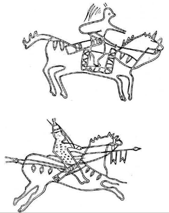 Изображения кыргызских воинов на писаницах
